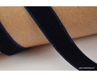 Ribbon Navy velvet, 16mm, by the metre