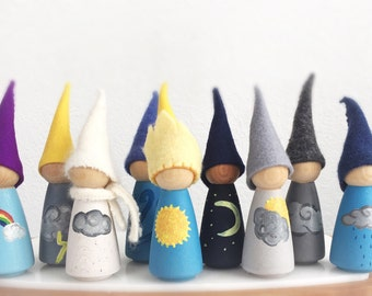 Weather gnomes, Waldorf inspired, large peg dolls, nursery decor