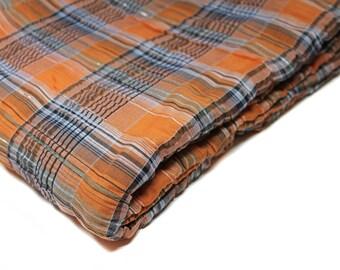 "Orange & Navy Plaid Fabric, Lightweight Fabric, Destash Fabric, 52"" Wide"