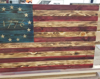 Reclaimed Pallet Wood, Wall Hanging, Home Made, Betsy Ross