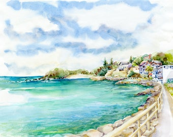 "Shelly Beach Watercolour Painting - Print, ""Looking Towards Shelly Beach"", Sydney, Australia, Sea, Manly, Beach Decor, Print, Watercolor"