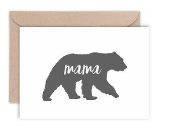 Mama Bear Silhouette Card   Choose a colour   Mother's Day Card   Thanks Mum   Thanks Mom   Handmade   C6