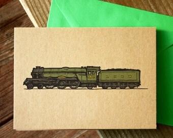 Greetings Card   Flying Scotsman   Steam Train   Vintage   Illustration   Colour   Brown Kraft