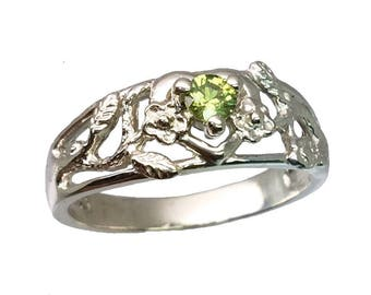 14k Demantoid Garnet Ring, FREE SIZING