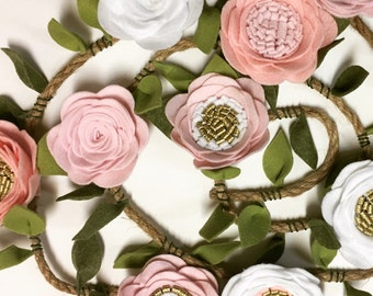 Handmade Felt Flower Garland i pink, white, and gold for nursery birthday baby photo prop