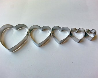 5 pcs. HEART set mini Cookie Cutter,metal cutters,cookie cutters,sugar cutters,decoration cake,clay and other crafts making,baking supplies