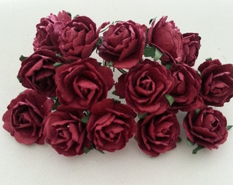 30, 60 pcs. Mini ROSES mulberry paper flower maroon color 2.5 cm.,scrapbook,home decor,wedding & headband,other crafts