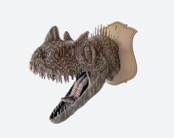 Cardboard Ceratosaurus trophy head