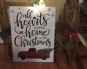 All hearts come home for CHRISTMAS/ vintage christmas wood sign
