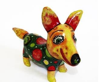Dog Corgi Ceramic figurine, Miniature Dog art ceramic sculpture, pottery dog, ceramic dog, dog figurine, dog lover Gift