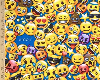"Emoji Licensed fabric, Emoji's on blue, All the Emoji Cotton fabric by the yard on Aqua by David Textiles 100% Cotton fabric Remnant 23""x44"""