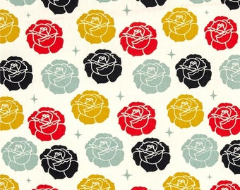 Stamped Rose Cream - Tall Tales - Birch Fabrics - Organic Cotton - Double Gauze by the Yard