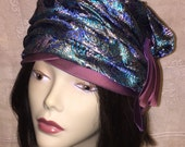 Vintage Mid Century Women's Turban Cloche Fascinator Hat Purple Blue Gold Brocade Fabric 1950s 1960s
