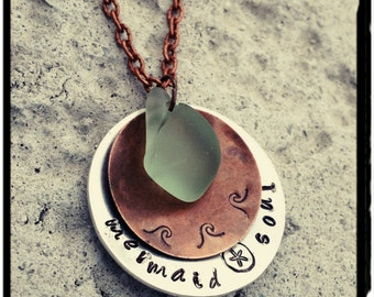 Mermaid Soul - Hand Stamped Mixed Metal Charm Necklace//Surf Tumbled Sea Glass//Aged Copper Wave Charm -Stacking Charms -Silver Chain/Gift