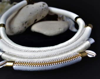 "MULTISTRAND leather rope necklace braided elegant ""Anaqa"""