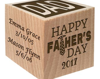 Custom Father's Day Block-Cool Father's Day Wooden Keepsake Personalized Custom Engraved wooden baby blocks girl baby boy Children gift