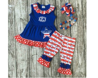 Boutique Girls / Baby 4th of July Patriotic Set add name