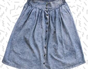 Plus-Size Stonewashed Button-Front Midi Denim Skirt