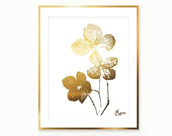 Clover Art Print , Gold Four Leafs Clover Print , Digital Clover Print , Gold Clover Painting , Downloadable Botanical Print Dry Leaf Print