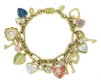 Kirks Folly Sweetheart Heart Keys Moon Charm Bracelet Adjustable