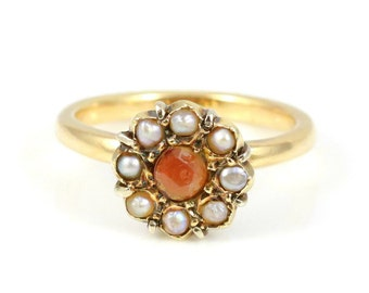 Beautiful Antique Victorian 9ct Gold Cluster Ring- Circa 1850