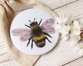 Bumblebee Pocket Mirror, Bee Mirror, Makeup Bag Accessories, Gardener Gift, Bee Lovers Gift, Bag Mirror, Bee Accessories, Bee Gifts