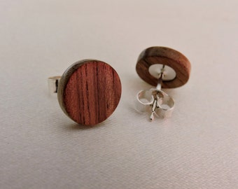 Wooden earrings,Walnut Wood Studs,Wood Stud Earrings,925 Real Silver