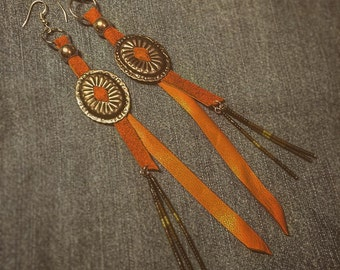 Silver, light brown leather, beads and concho earrings seed beads of different Greens