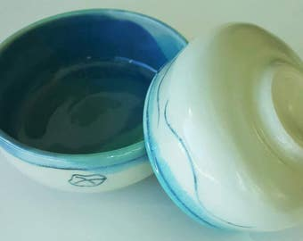 Serving or dinnerware bowls, nested set, handmade, in turquoise blue and white