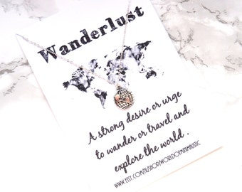 Wanderlust necklace, choker necklace ,globe dainty necklace, travel necklace, BFF gift, compass necklace, delicate fine silver jewelry