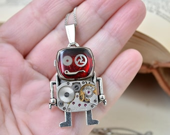 Red Robot Steampunk necklace/ Necklace Robot/ Robot pendant/ Industrial/ Andriod/ Robot/ Fancy necklace/ Robot lovers gift/ Steampunk gift