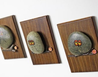 Three Vintage Hand Painted Rock Owl Plaques