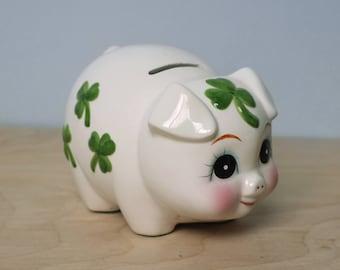 Vintage Irish Clover Piggy Bank