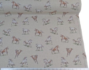 Wild Horses Stallions Beige Linen Look High Quality Fabric Material *2 Sizes*