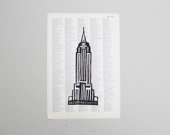 Linocut print Empire State Building on map