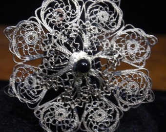 Antique Filigree Silver and Onyx Flower Brooch