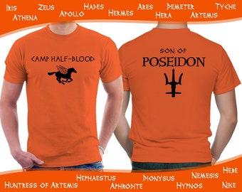 Camp Half Blood t shirt, Percy Jackson and the Olympians Demigod for boys, orange men unisex shirt