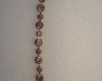 Vintage 'WEISS', Pale Pink Rhinestone Bracelet, Closed Back Stones