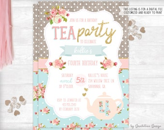 Tea Party Birthday Invitation plus Thank You Card Printable