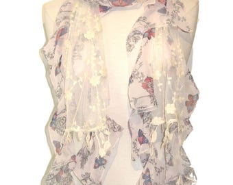 Butterfly and flower print scarf shawl - purple mix - silk blend and lace