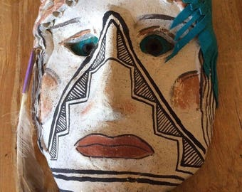 Native American Pottery Mask Micacecous Clay Anasazi Style*SS332