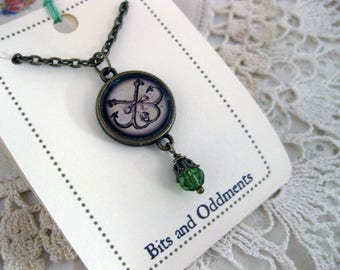 Ship and Anchors Nautical Necklace- reversible pendant with green glass accent