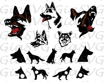 German Shepherd SVG, German Shepherd clipart, German Shepherd monogram svg, ready to cut files for Cricut, Silhouette etc, also in eps & DXF