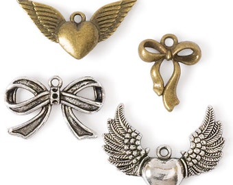 Bows & Winged Heart Charms