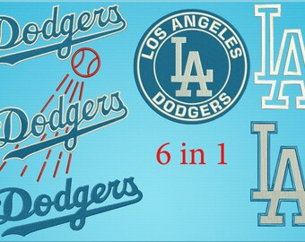 Los Angeles Dodgers Embroidery Design baseball 6 in 1