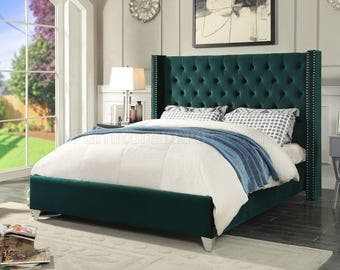 Contemporary Queen Bed in Green Velvet, Nailhead Trim, Deep Tufting, FREE Mattress!