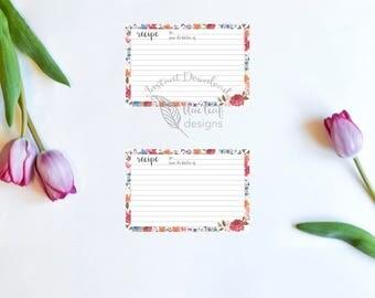 Printable Recipe Card, Floral Printable Recipe Card, Bridal Shower Gift Printable Recipe Card, Hostess Gift Printable Recipe Card