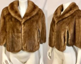 1940s / 1950s Mink Wrap, Vintage Fur Capelet, Fur Shrug