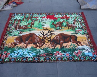 Wall hanging rug,Deers are fighting illustrated vintage wall rug,65 x 46 inches,velvet rug,animal designed rug !!