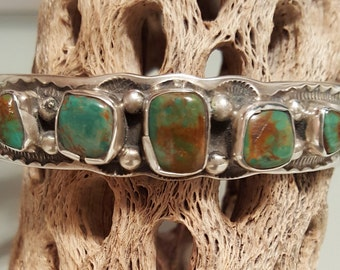 Five Stone Moss Green and Brown Genuine Turquoise Sterling Silver Cuff Bracelet - Fits up to 7-1/2 inch wrist